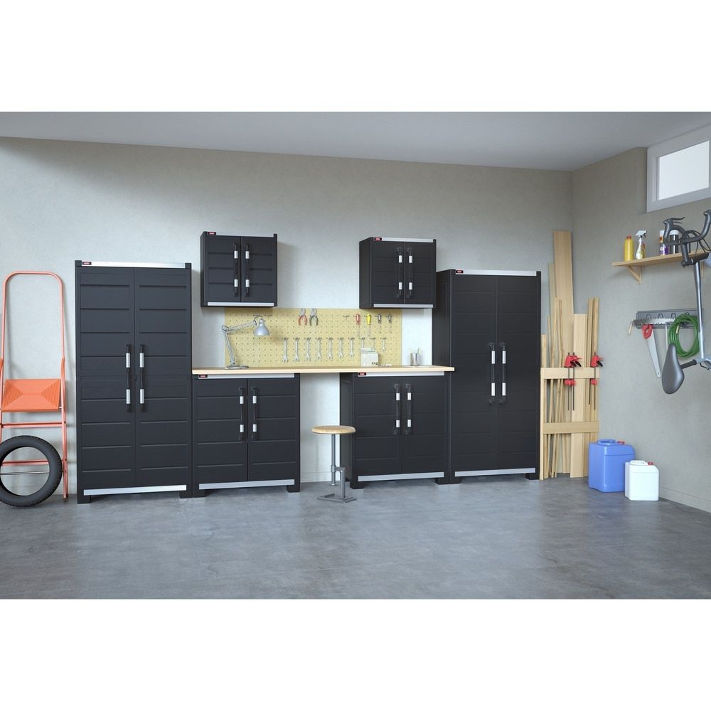 Keter XL Pro Black Plastic Standing Storage Cabinets (Black ...