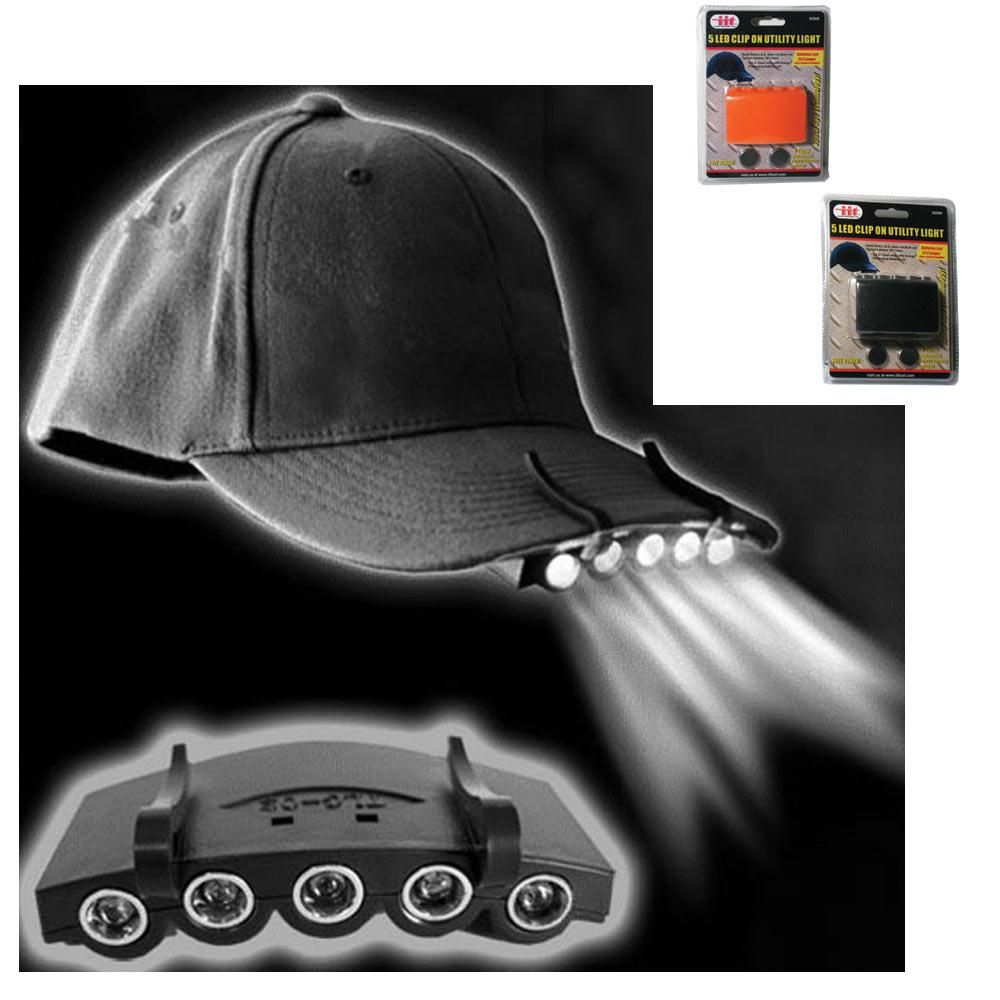 Clip On 5 LED Head Cap Hat Light Head Lamp Torch Fishing Camping Hunting Outdoor