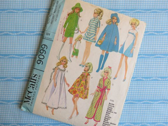 1960s Barbie Doll Clothes Pattern  Vintage McCalls by ErikawithaK, $9.00