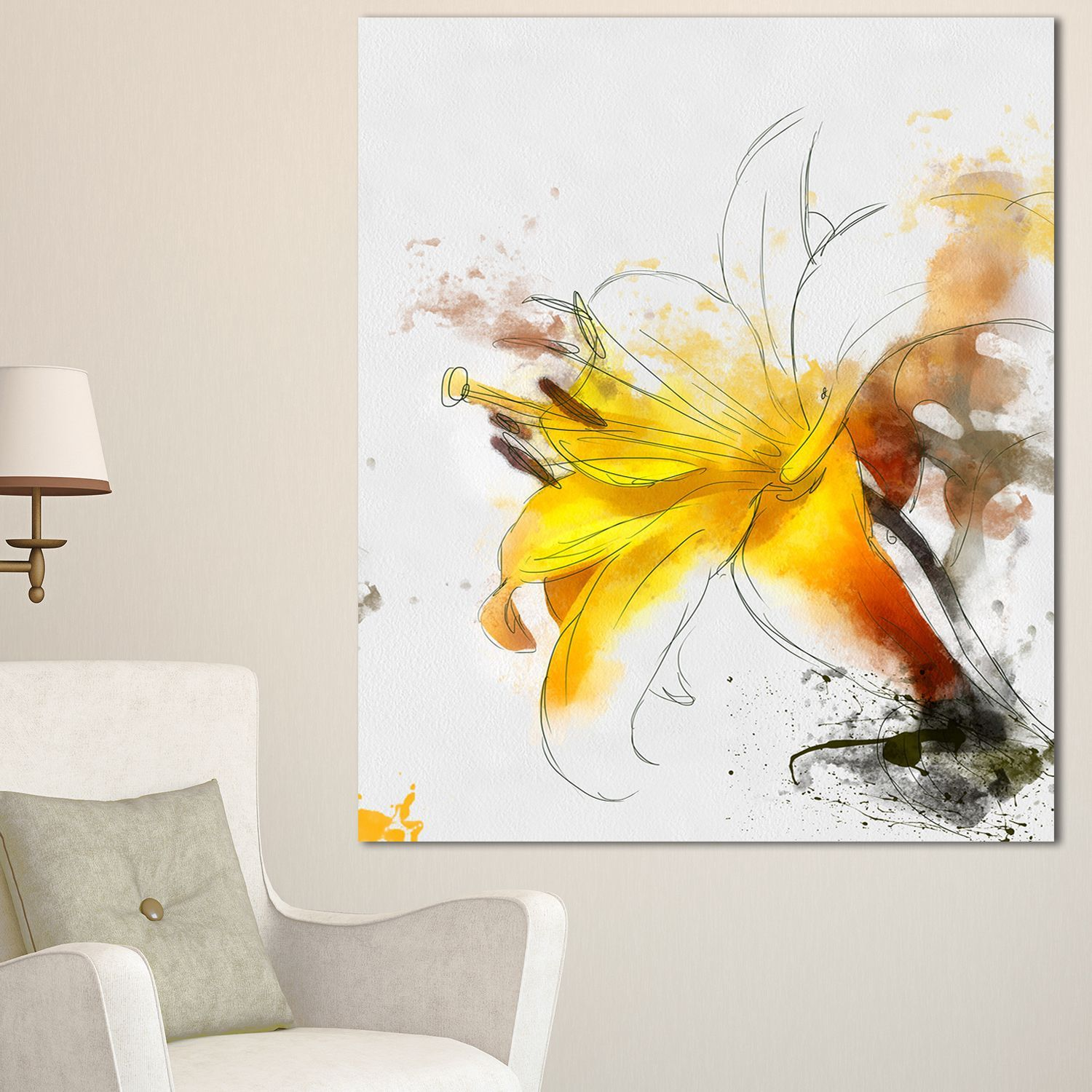 Yellow Lily Sketch Watercolor\' Modern Floral Canvas Wall Art (12 in ...