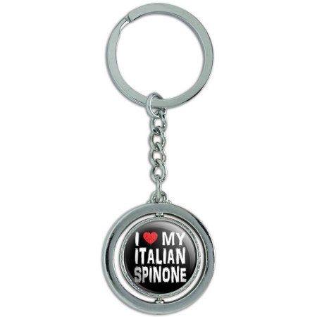 I Love My Italian Spinone Stylish Spinning Round Metal Key Chain Keychain Ring, Silver