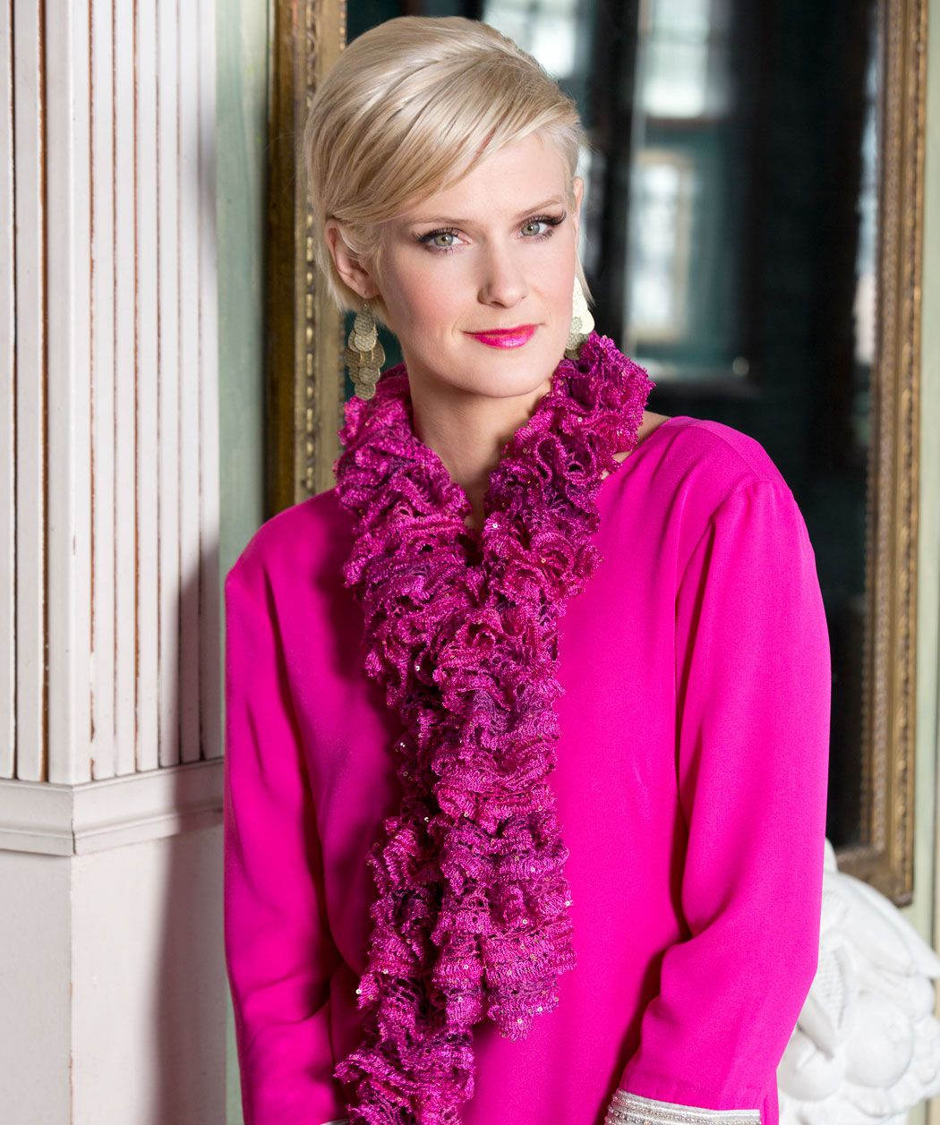 Raquel\'s Ruffle Scarf #BoutiqueSashaySequins #knitting #RedHeart ...