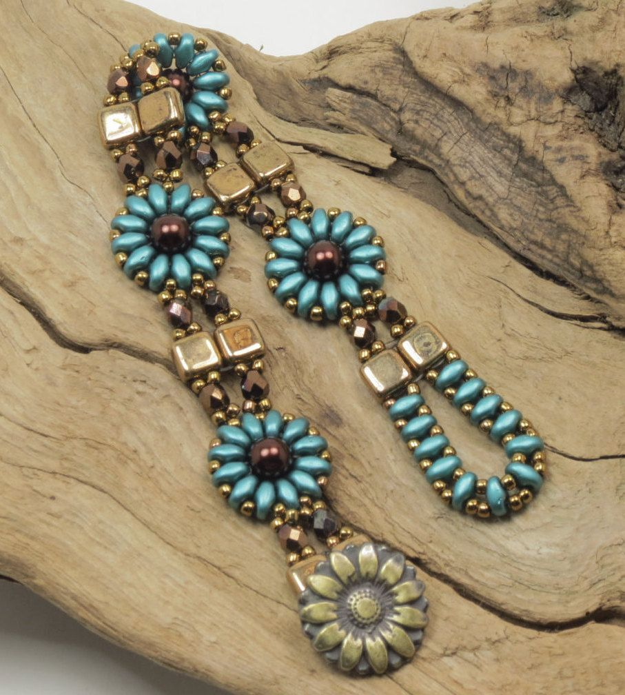 A Charming Bracelet In A Floral Design Beaded With Czech