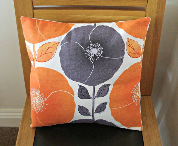 Decorative Pillows Poppy Poppies Citrus Orange Gray Grey Silver
