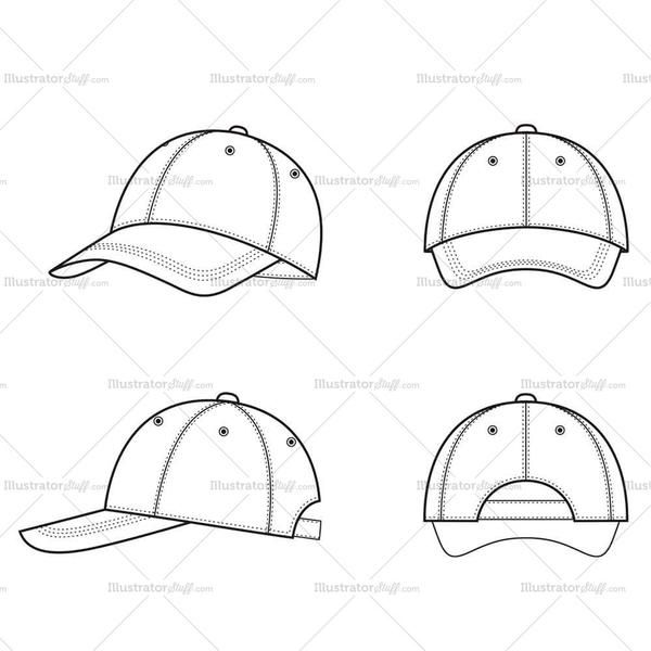 61590de90cc Unisex Baseball Cap Fashion Flat Templates