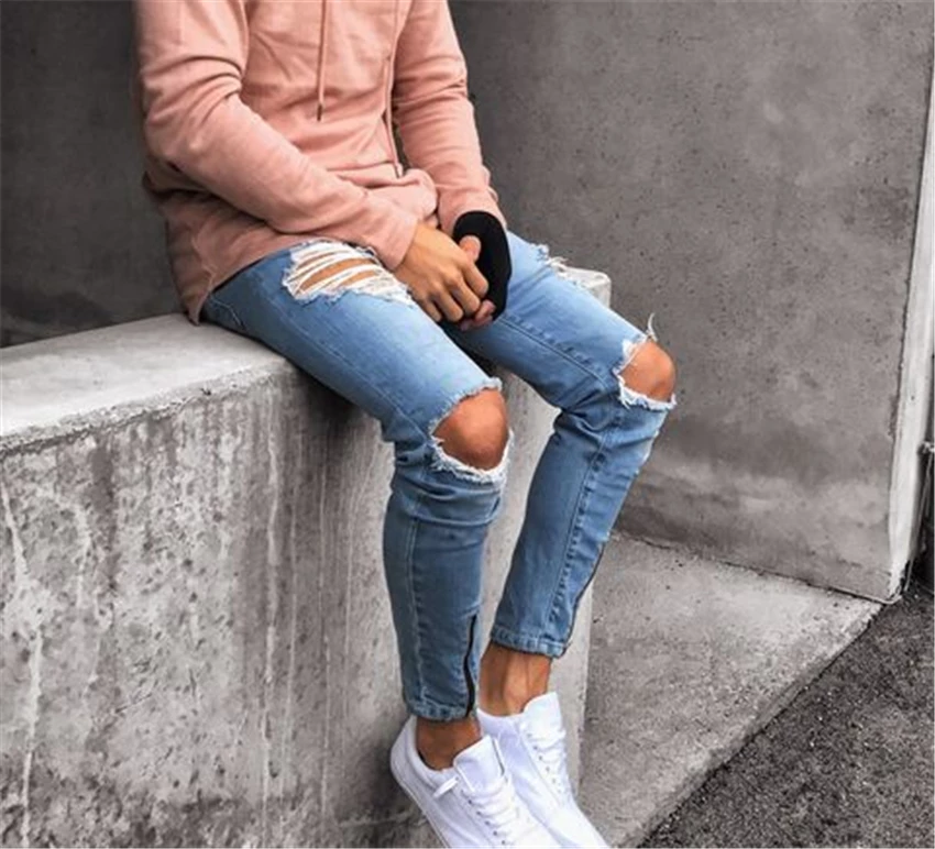 Men Stylish Ripped Jeans Biker Skinny Slim Straight Frayed Jeans Kidenhome Ripped Jeans Men Skinny Jeans Men Mens Outfits