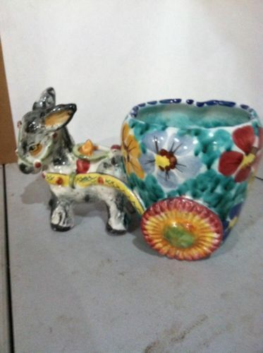 Gift idea 338 Kitsch Cute colorful ceramic donkey with cart as a flower pot from Italy of the 60s 70s No