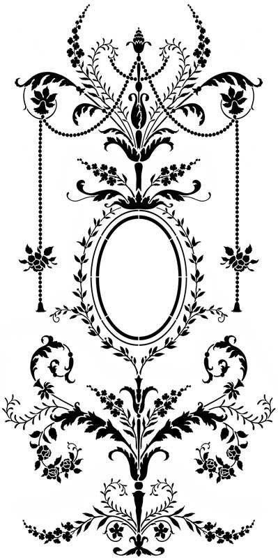 Rococo Stencils Black And White Wall Stencils Stencils Wall French Stencil Stencil Designs