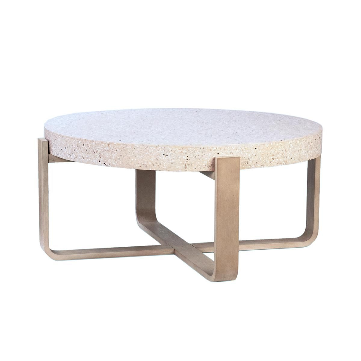 Contemporary Ivory Terrazzo Wood Coffee Table For Sale Image 3