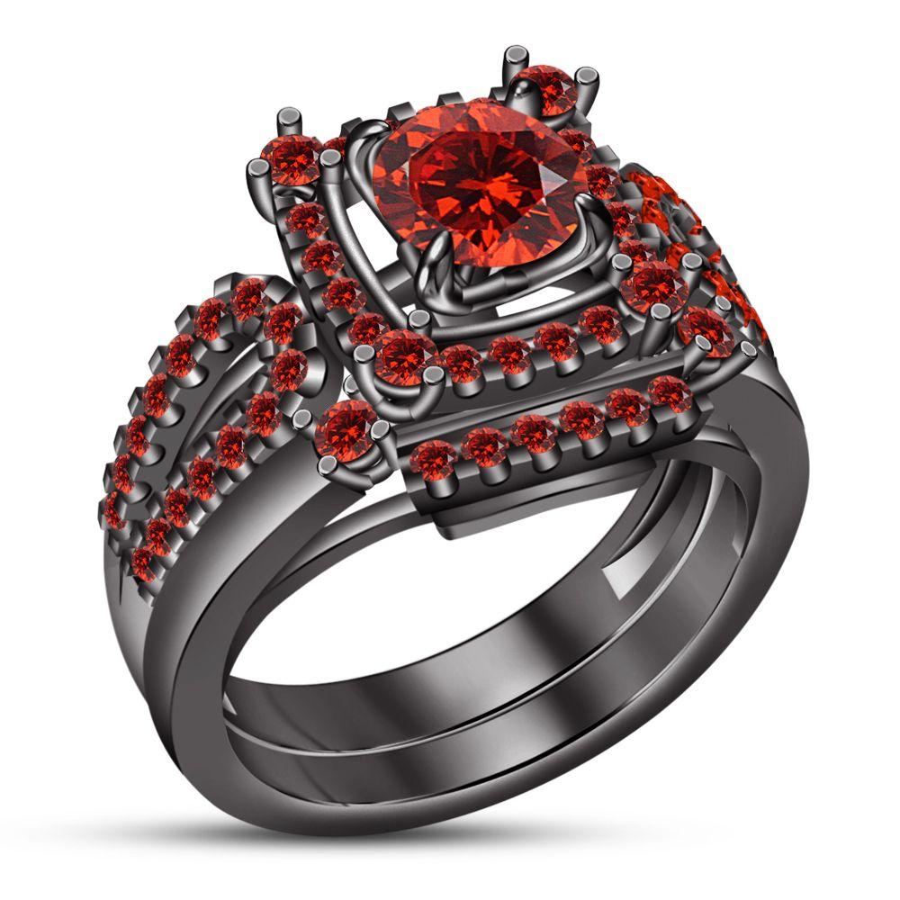 Pin By Vorra Fashion On Engagement Ring Set In 2020 Garnet Wedding Pink Sapphire Engagement Wedding Rings Engagement