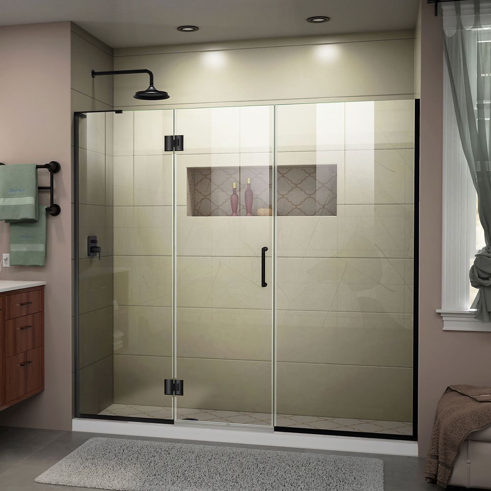Unidoor X 62 1 2 63 Inch W X 72 Inch Frameless Hinged Shower Door In Satin Black Finish Frameless Shower Doors Shower Doors Frameless Shower