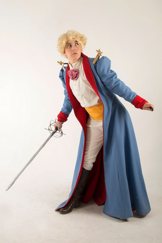 20e40feb4c Cosplay of the little Prince by Saint-Exupéry. Includes a long coat blue  wool lined red, shirt and white pants with pattern, yellow belt. This