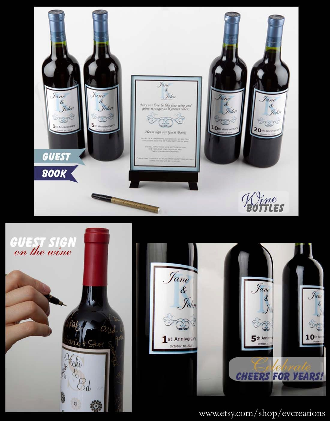 Unique Wine Bottle Guestbook with Personalized Labels for ...