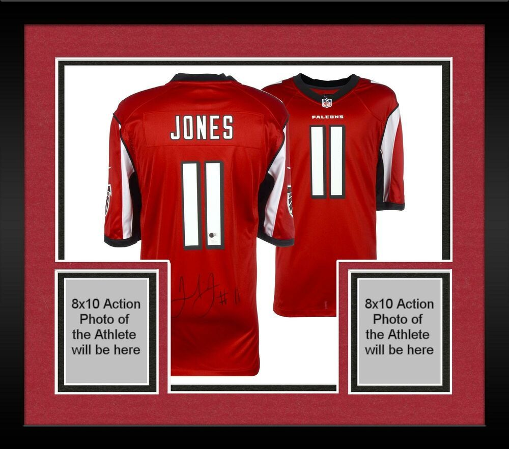 81ac0b1e Framed Julio Jones Atlanta Falcons Autographed Nike Red Jersey JSA ...