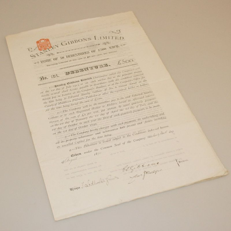 Stanley Gibbons share certificate from the first share issue that - company share certificates