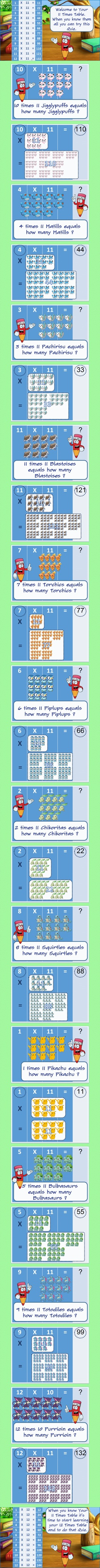 Learn your 11 times table the fun and easy way for 5 year old to 8 ...