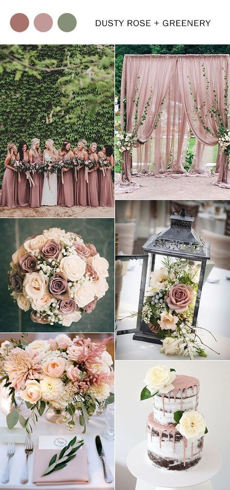 Top 10 Wedding Color Ideas for 2018 Trends | Dusty rose, Mauve and