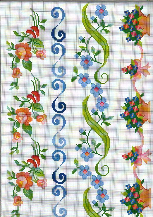 bordes de flores | punto en cruz | Pinterest | Punto de cruz, Puntos ...