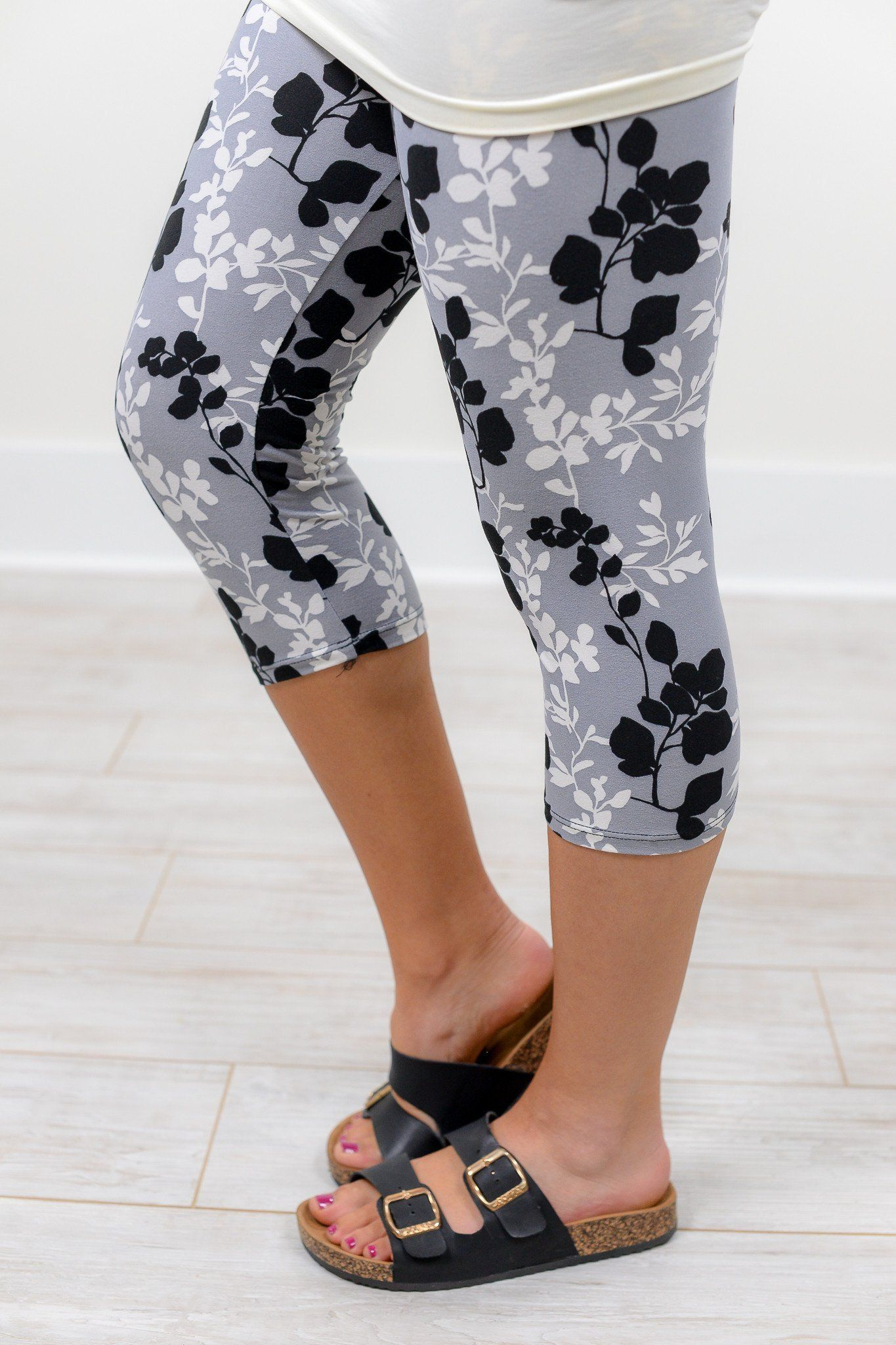 Gray Floral Capri Printed Leggings (Sizes 4-12) - LEG1133GR