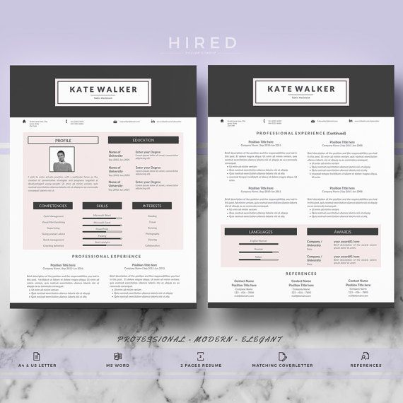 CV template, Creative \ modern CV template for Ms Word - references template for resume