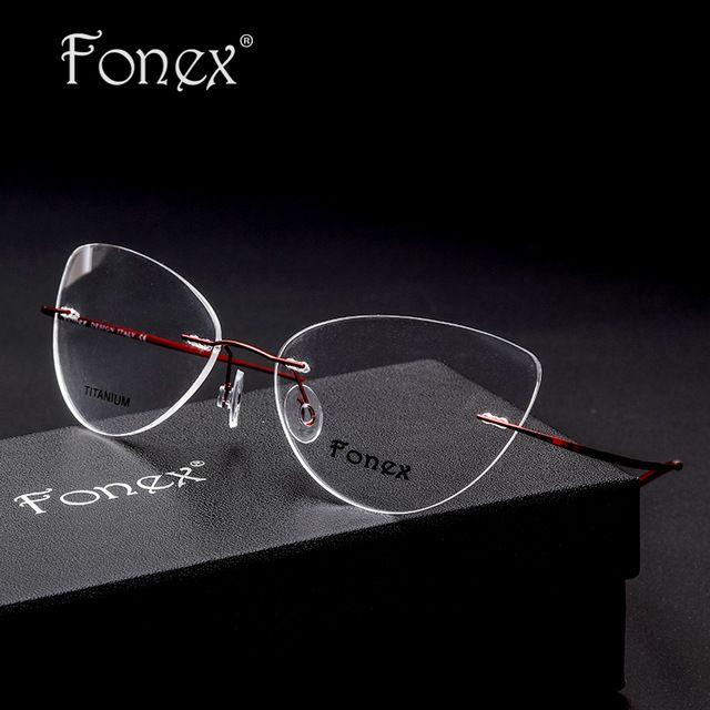 Rimless Glasses Frame Women Titanium Alloy Ultralight Eyeglasses