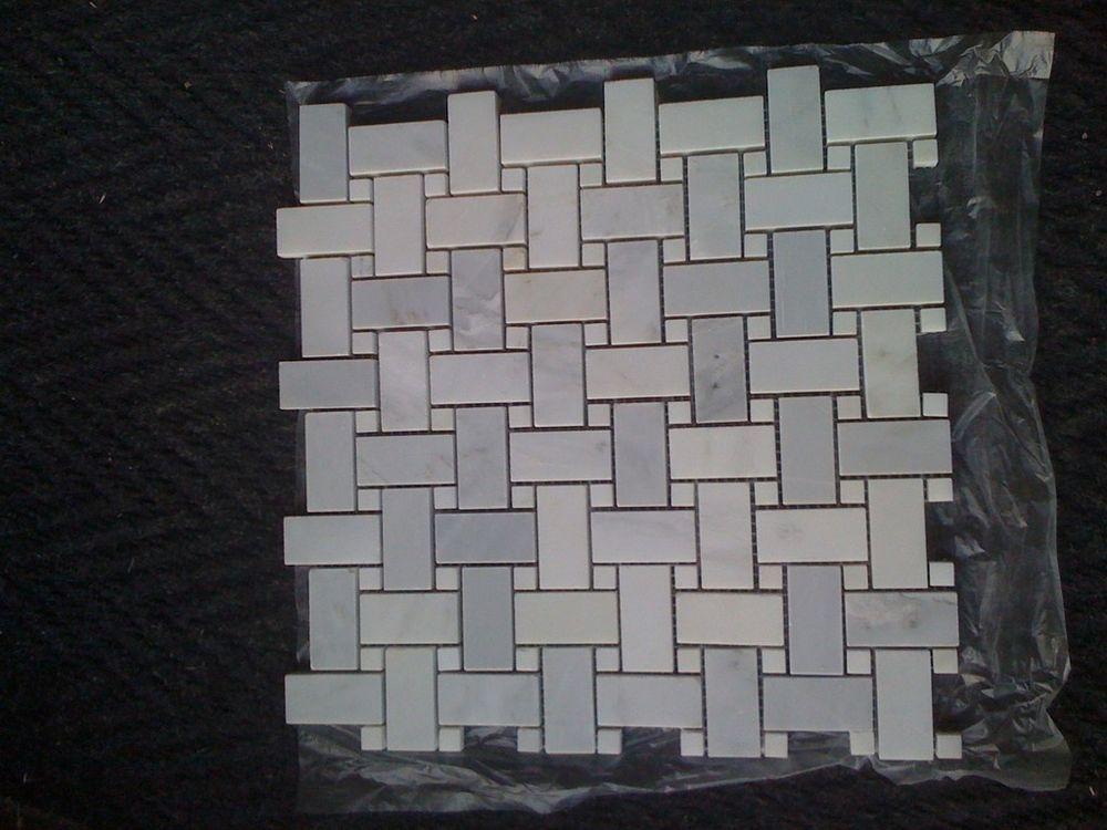 Marble Carrera Basketweave White Dots Polish Tile Mosaic Carrara