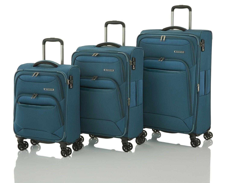 Travelite Kendolite Set Trolleys L/M erw. 4W, Trolley S + Bordtasche Petrol