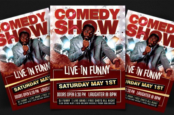 Live In Funny Comedy Show Flyer  Funny Comedy Flyer Template And