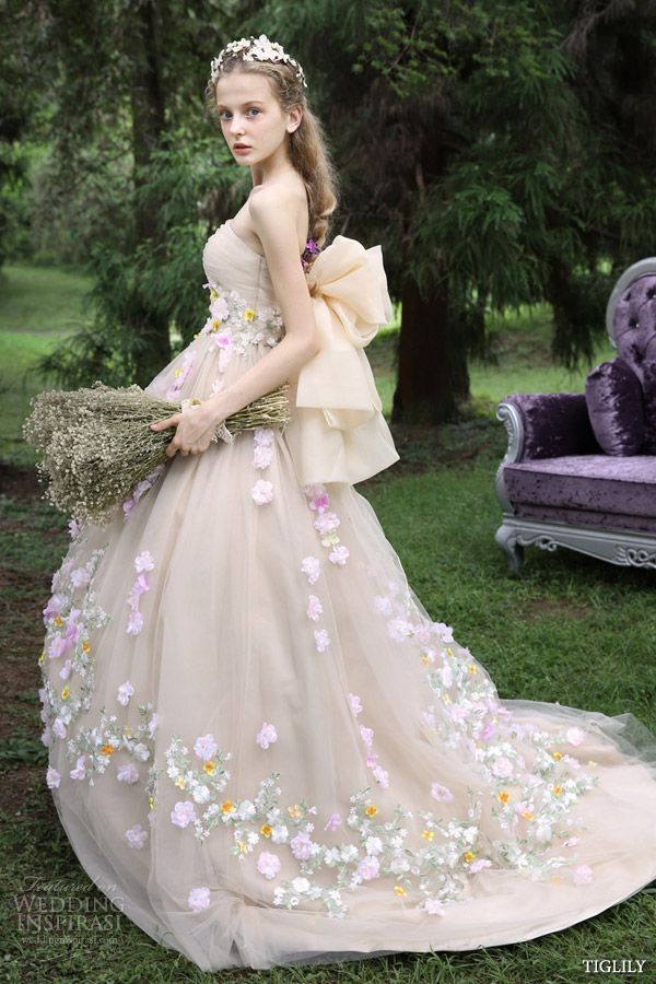 tiglily spring 2015 japanese romantic strapless colored ball gown wedding dresses styles c125 would be nice