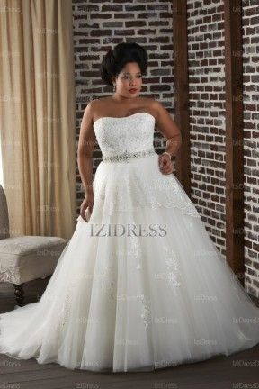 Ball Gown Strapless Court Train Tulle wedding dress - IZIDRESSES.com at IZIDRESSES.com