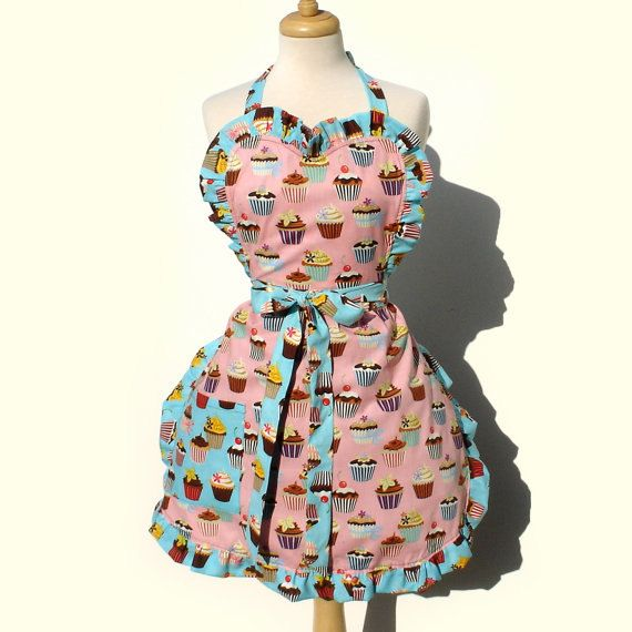 On Sale Blue and Pink All Cupcakes Apron by VintageGaleria on Etsy