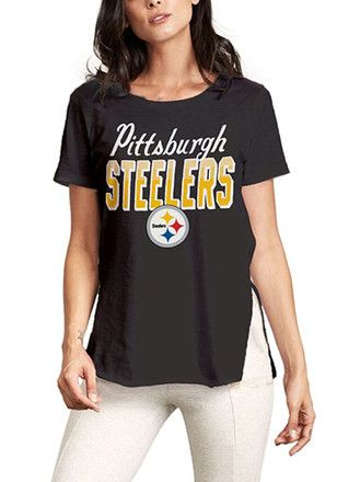 dd46b391c Junk Food Clothing Pittsburgh Steelers Womens Kickoff Black T-Shirt ...