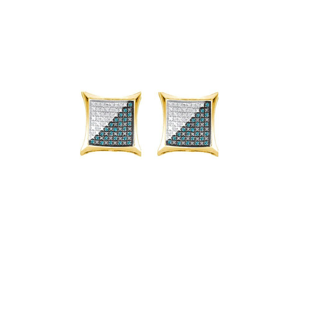 Sterling Silver Womens Round Blue Colored Diamond Square Kite Earrings 1/4 Cttw 55142