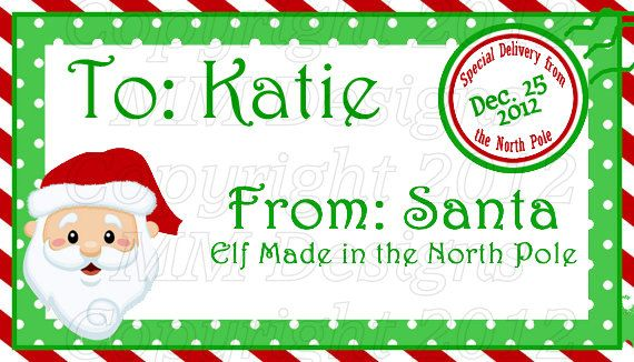 personalized printable santa gift tags by mmbowdesigns on etsy