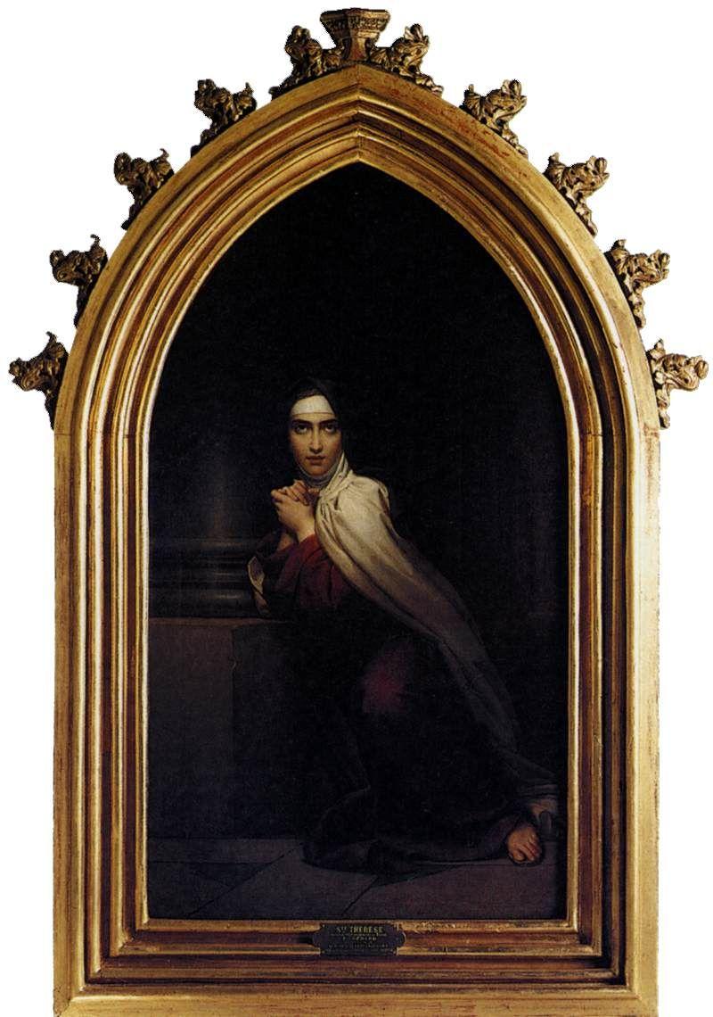 Thérèse de Jésus 1828 par François Gérard (1770−1837) hst 172 x 93 cm - Infirmerie Marie-Thérèse Paris (l'Entreprise de Céleste de Chateaubriand) http://www.parissweethome.com/parisrentals/art_fr.php?id=25 -  Le poète témoigne ici du désintéressement du peintre à cette occasion. Cette composition a été gravée par M. Leroux et reproduite au trait par Ch. Bazin … https://archive.org/details/correspondanced00violgoog pg 21
