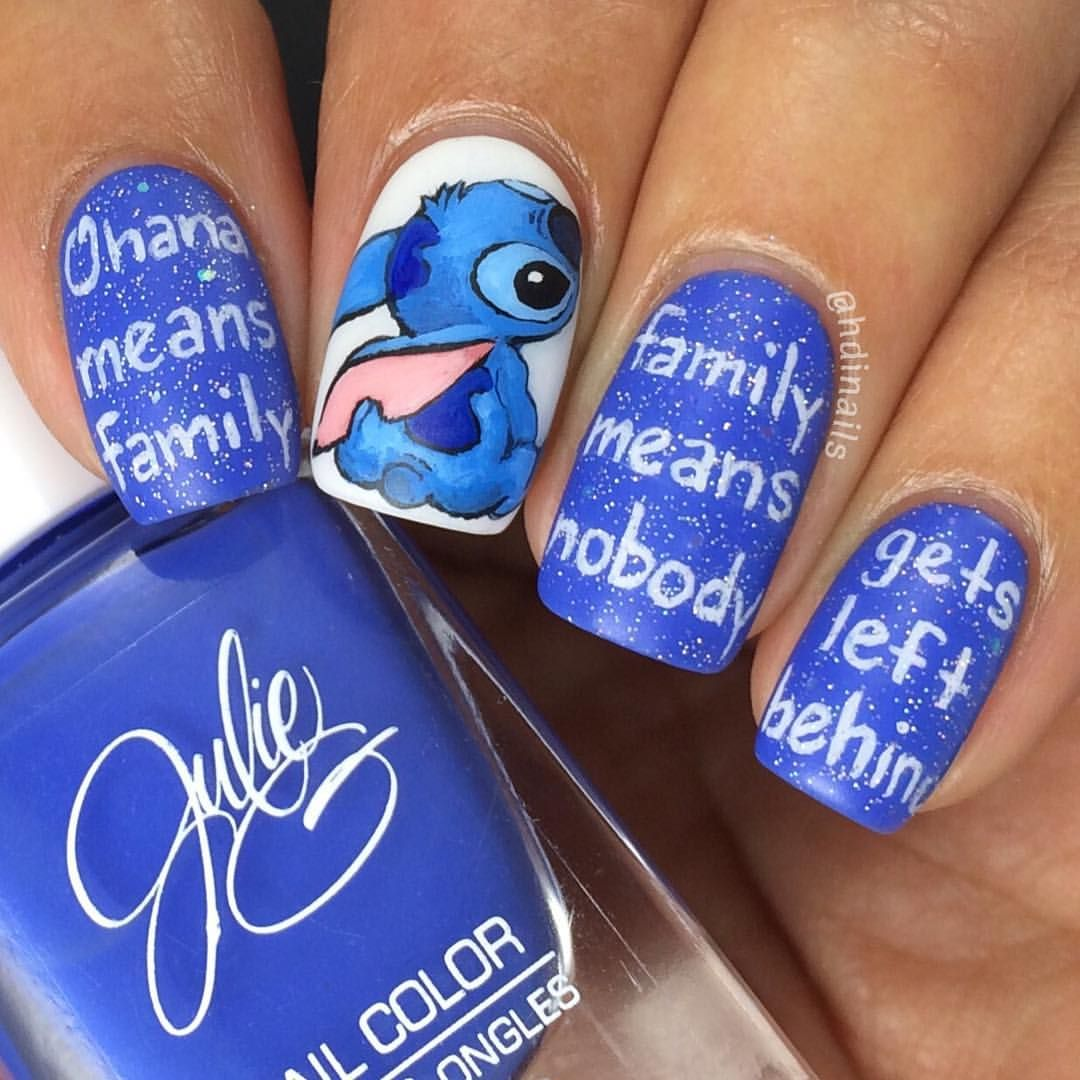 Stitch Nailart 31dc2016 Day 5 Blue Ohana Means Family Family Means Nobody Gets Left Behind Disney Nails Disney Acrylic Nails Disney Nail Designs