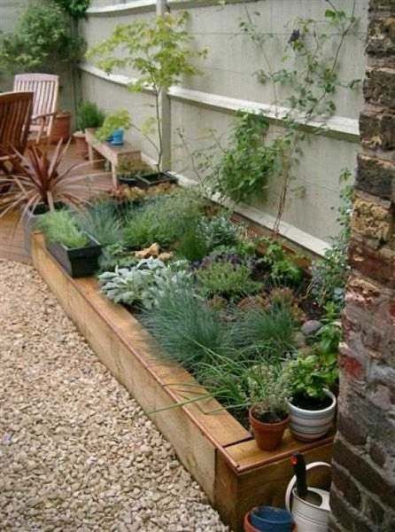 Railway sleeper raised bed for front garden | Raised ...