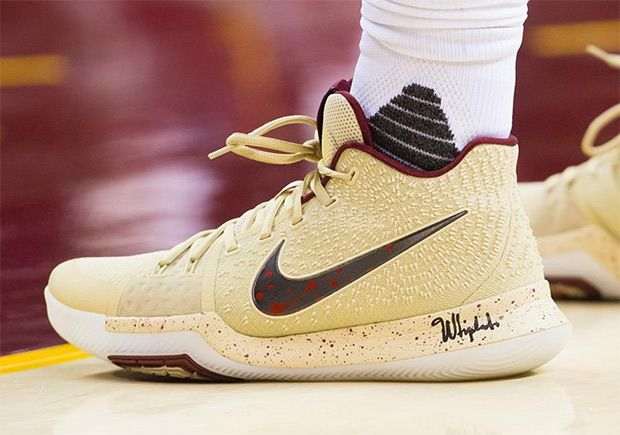 "fc9cd4a3b88  sneakers  news Kyrie Irving Wears Nike Kyrie 3 ""Cream"" PE To Open 2nd  Round Series"