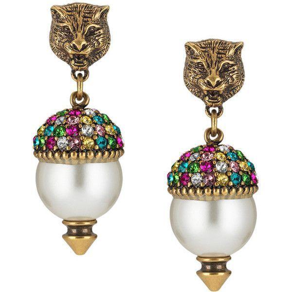 Feline Pearl Drop Earrings Gucci rNR1p4Id91