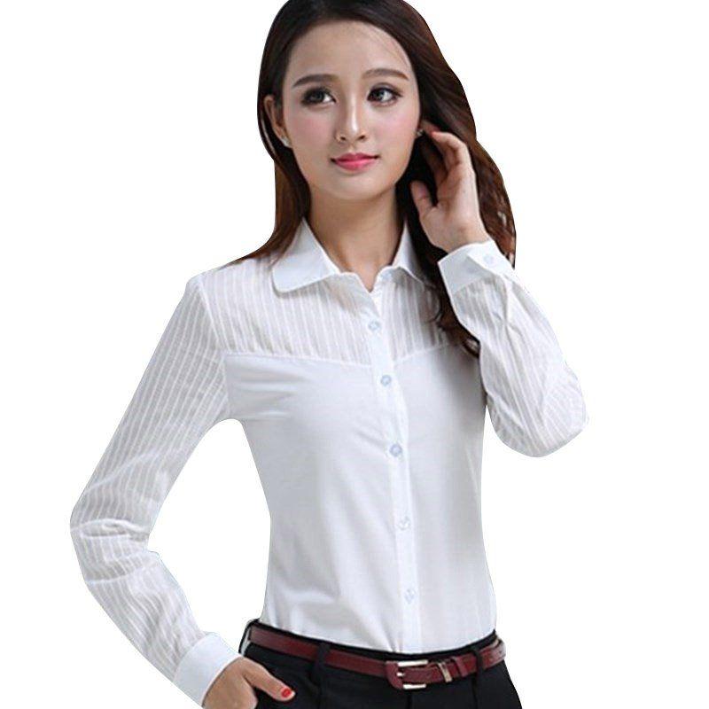 83ba6aa9 Mujeres Blanco Blusa Estilo Coreano Señoras Elegantes Oficina Ropa de  Trabajo Camisas Blusas de Manga Larga Camisa Femenina(China (Mainland))
