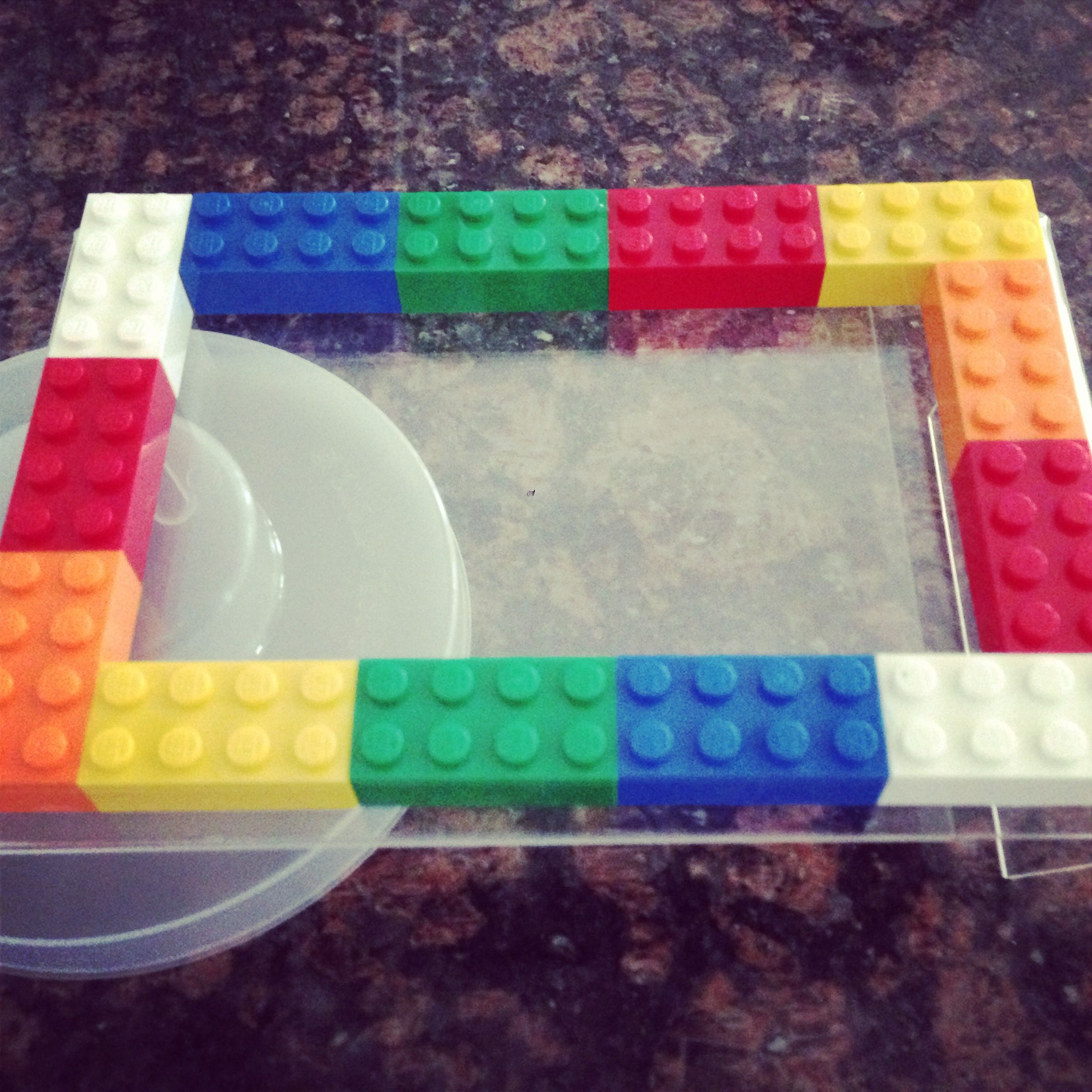 """Cheap Legos Party Favor ~ Legos Picture Frame. 4x6 plastic frame and super tacky glue. And legos, of course! Add """"thanks for coming to my party in the frame."""