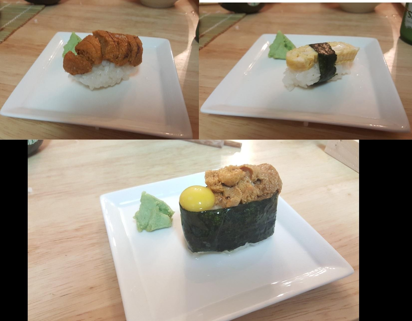 Uni Nigiri Tamagoyaki Gunkan With Quail Egg Food Recipes