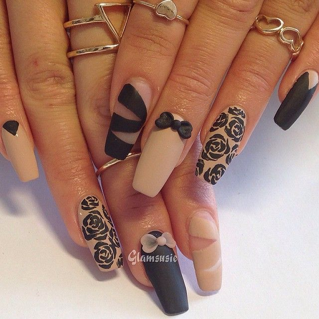 #nailart Simple #matte design in nude n black for my gal Kelly #Padgram