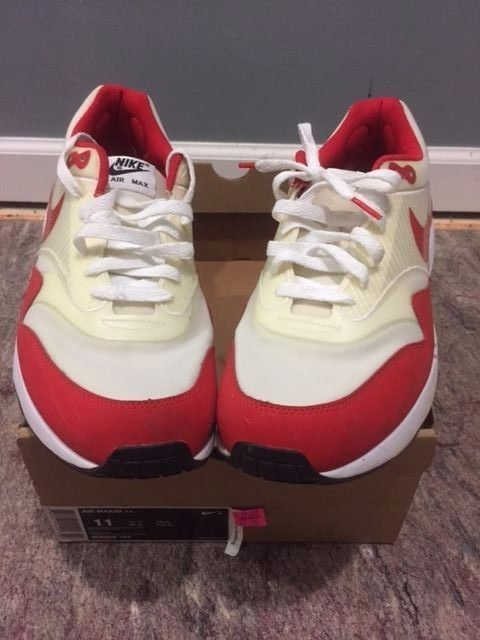 f844d21c9b98 Nike Air Maxim 1 size 11 366488-161 white sport red max 1+ hyperfuse ...