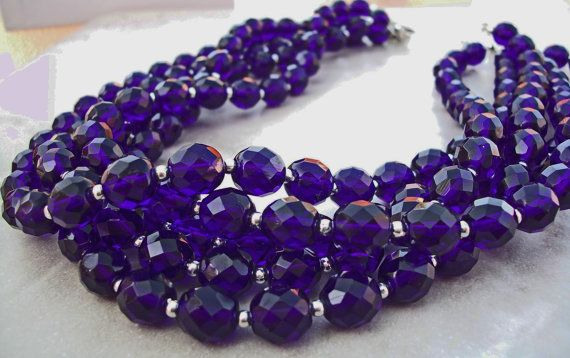 Blue Five Strand NecklaceH by jewelsforhope on Etsy, $125.00