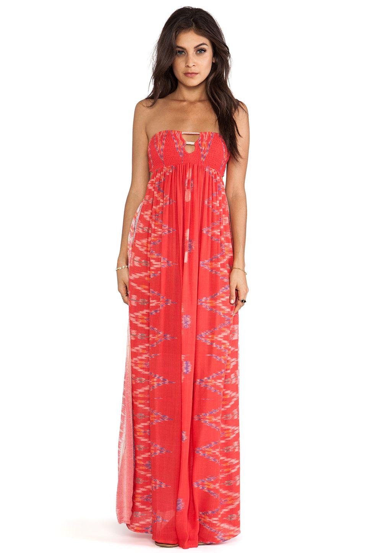 d66c8f8bd50 Indah Flamingo Smock Bandeau Maxi Dress in Coral Endek