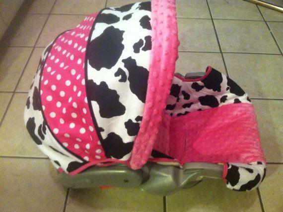 Fine Hot Pink And Cow Print Baby Car Seat Cover Baby Stuff Frankydiablos Diy Chair Ideas Frankydiabloscom