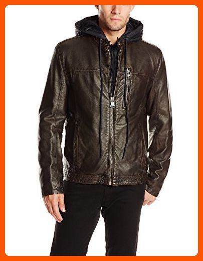 Marc New York by Andrew Marc Mens Lamar Distressed Faux-Leather Moto Jacket