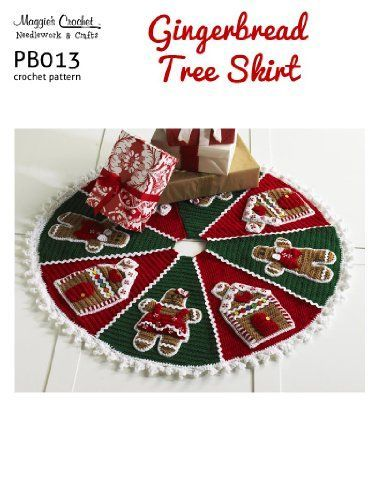 Crochet Pattern Gingerbread Christmas Tree Skirt PB013-R