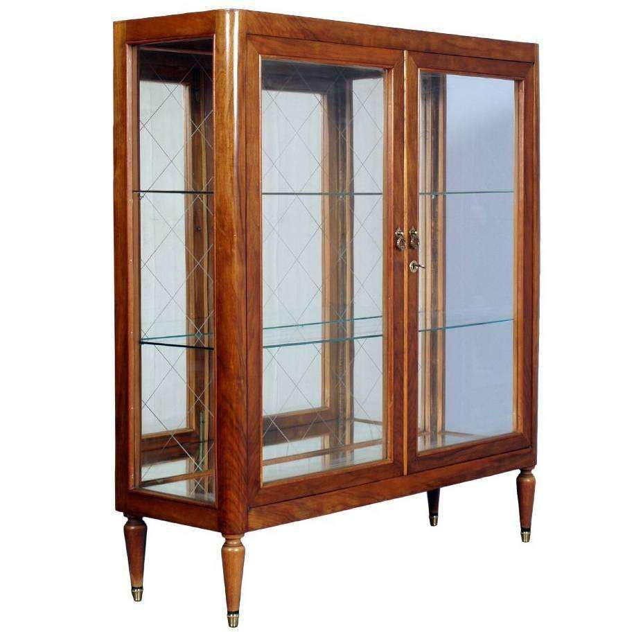 Mid century modern display cabinet giò ponti manner cherry wood 1950s 1